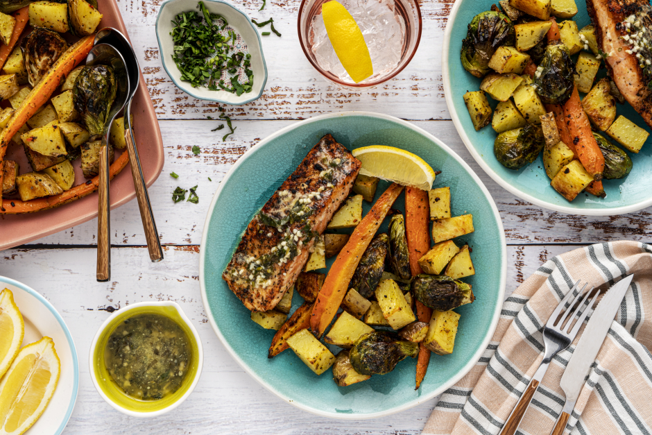 Crispy Salmon with Herb, Mustard & Butter Sauce