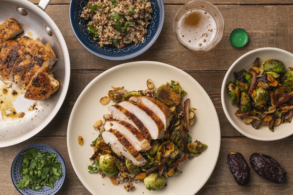 Seared Chicken Breasts over Rainbow Quinoa