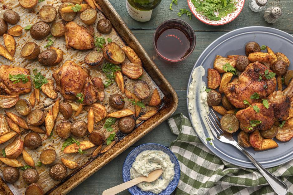 Paprika-Honey Glazed Chicken & Vegetable Traybake