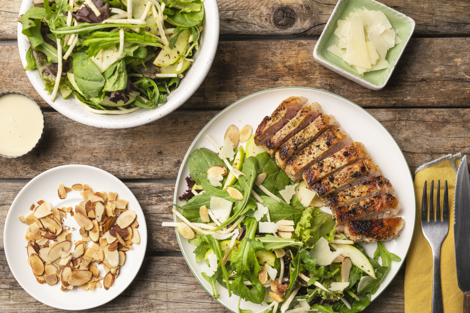Lemon-Herbed Pork Chops with Apple & Celery Root Salad