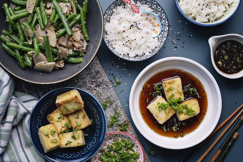 Tofu agedashi & sauce soya sucrée