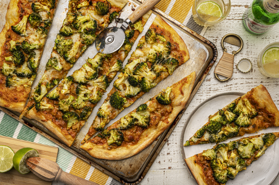 Indian-Style Broccoli Pizza