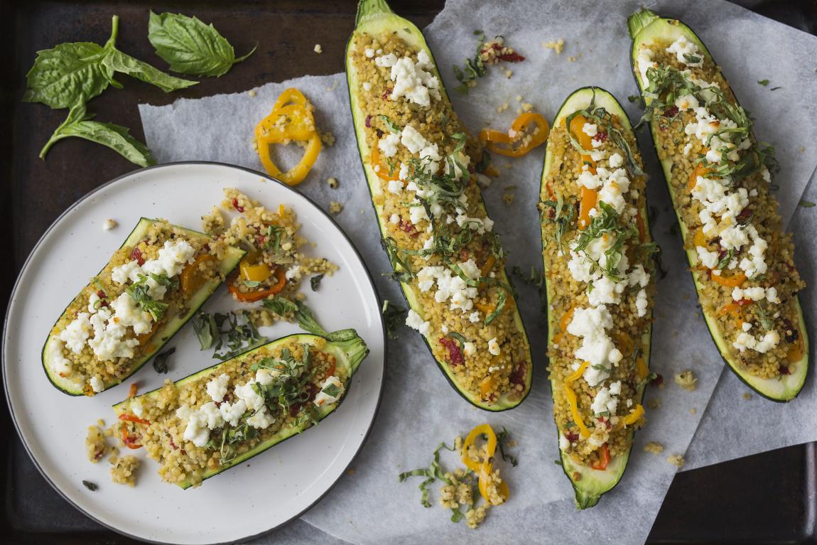 Couscous Stuffed Zucchini