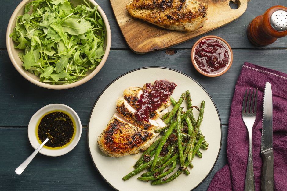 Spiced Chicken Breasts with Fresh Cranberry-Balsamic Pan Sauce