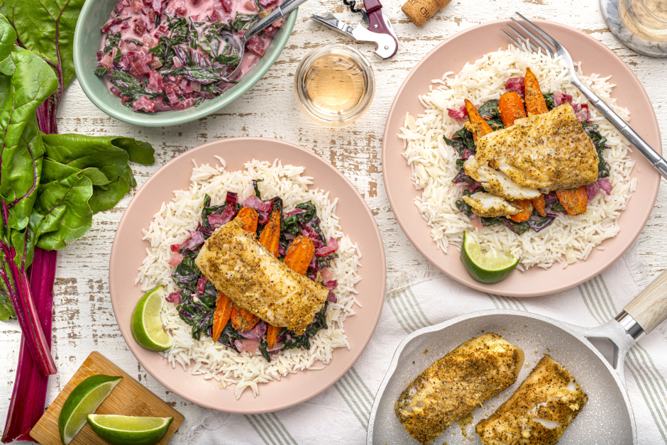 Spiced Cod with Coconut Creamed Greens
