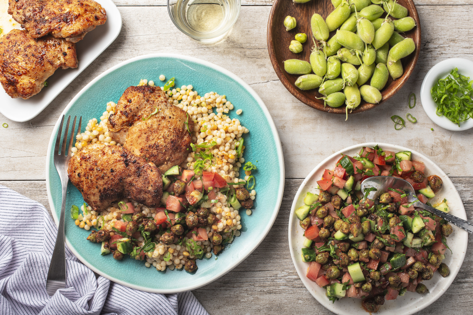 Grilled Chicken over Fresh Chickpea Salad