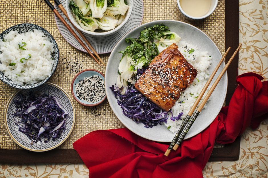 Teriyaki Salmon over Sushi-Style Rice