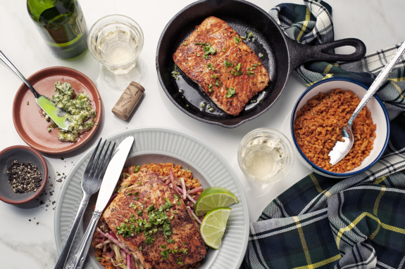 Blackened Salmon with Cilantro-Lime Butter