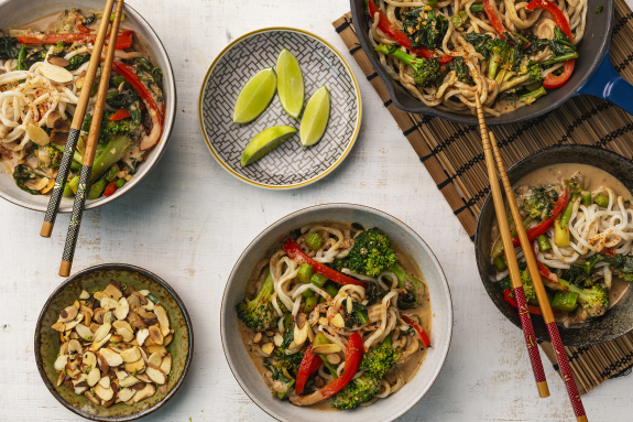 Fresh Shanghai Noodles with Almond-Coconut Sauce