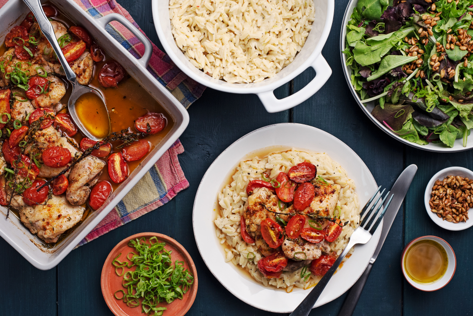 Cherry Tomato Roasted Chicken over Creamy Orzotto