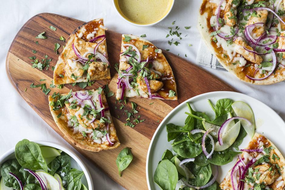 BBQ Chicken Naan Pizzas