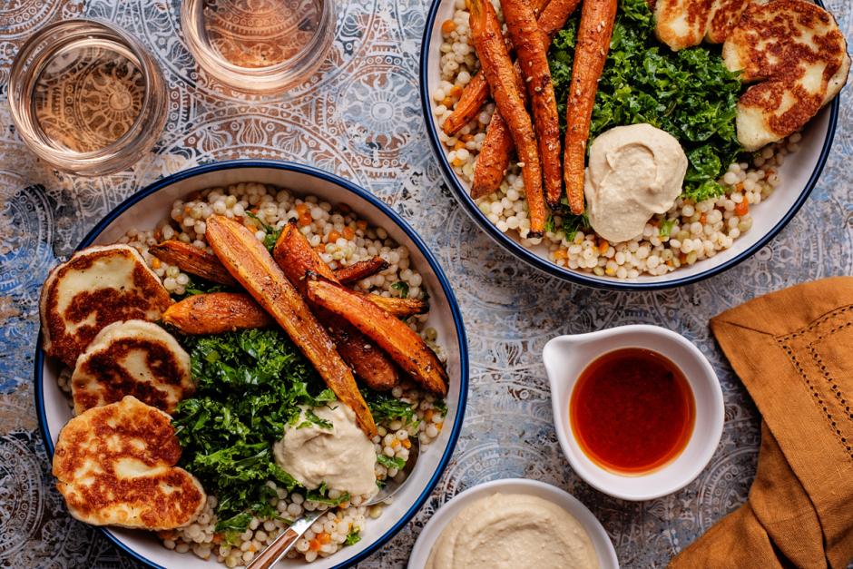 Halloumi & Honey-Zaatar Roasted Carrot Bowls