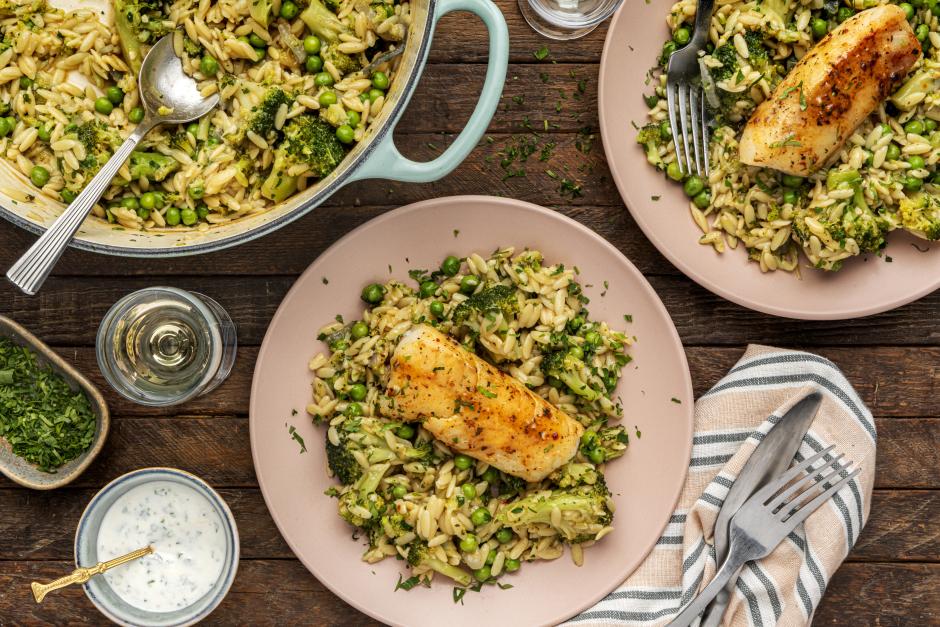 Seared Haddock over Broccoli & Orzo Bake