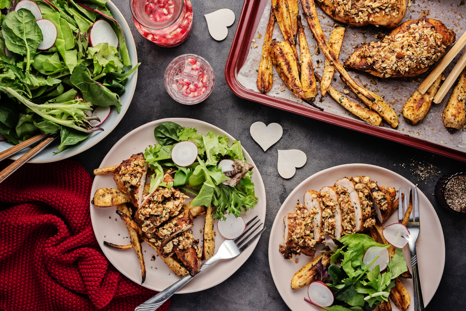 Almond-Topped Chicken with Rosemary Parsnips