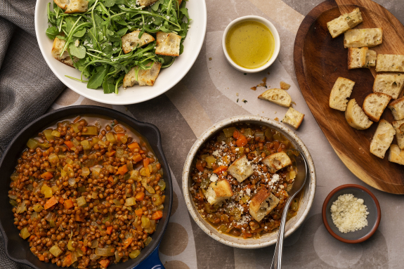Lentil & Parmesan Stew with Yellow Beets