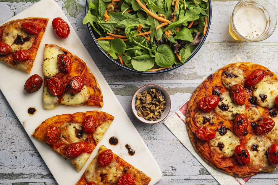 Balsamic Roasted Cherry Tomato & Bocconcini Naan Pizzas