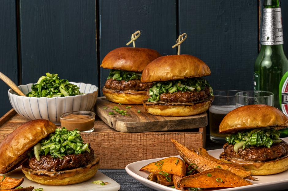 Pork Burgers & Sweet Potato Wedges