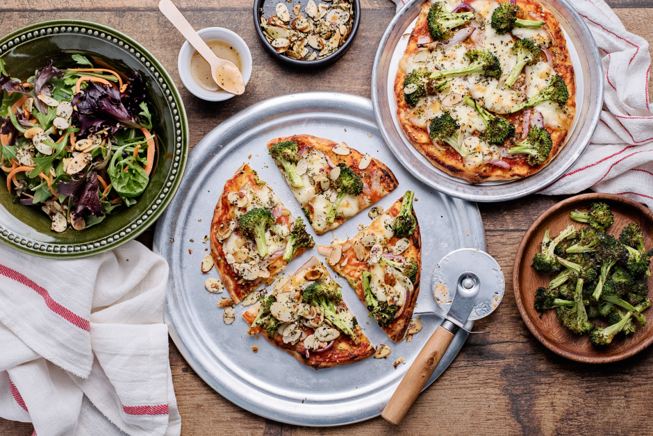 Broccoli-Almond Pizzas