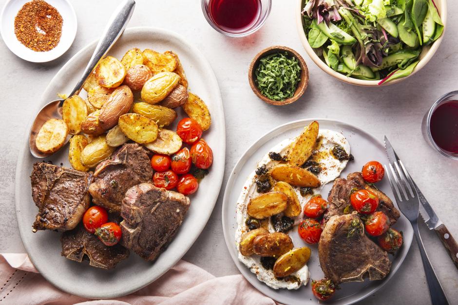 Lamb Chops with Black-Garlic Labneh