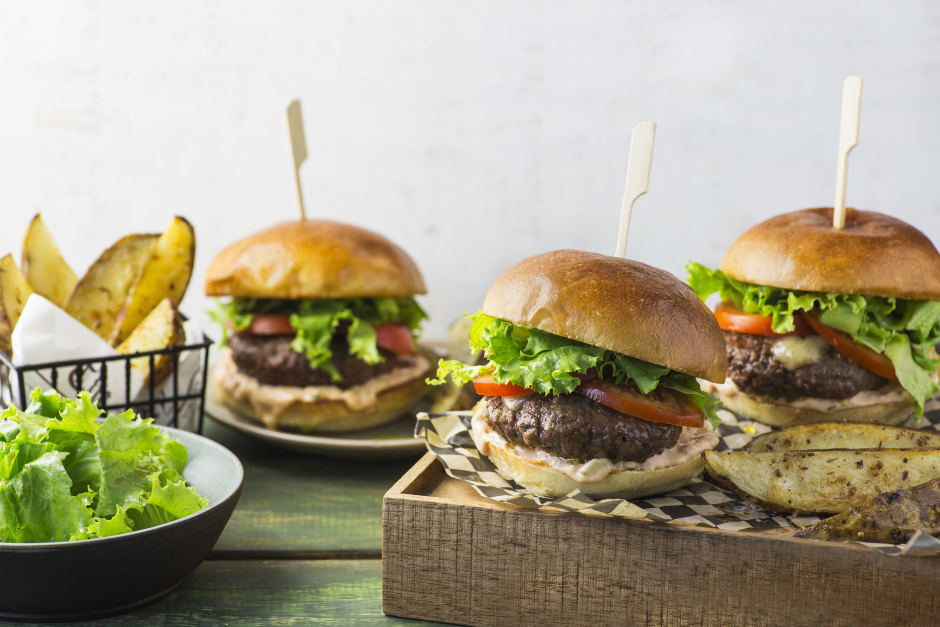 Cheddar-Stuffed Beef Burgers with Tangy Mayo