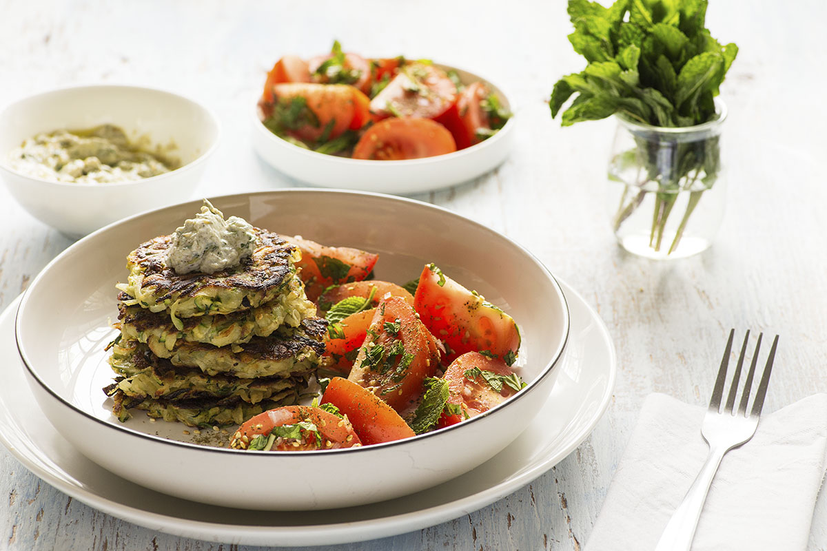Zucchini Fritters with Za'atar Labneh