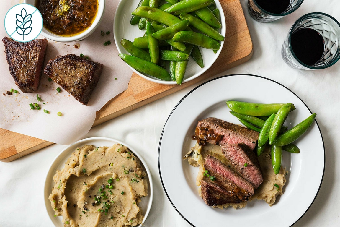 Seared Steaks with Black Garlic Mashed Potatoes
